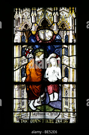 Stained Glass Window Depicting the Baptism of Jesus Christ, Brant Broughton Church, Lincolnshire - Stock Photo