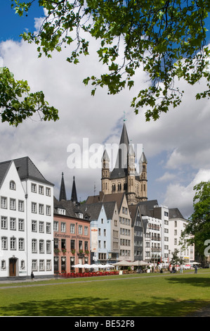 Cologne's historic town centre with Gross St. Martin Cathedral as seen from the bank of the Rhine River, Cologne, - Stock Photo