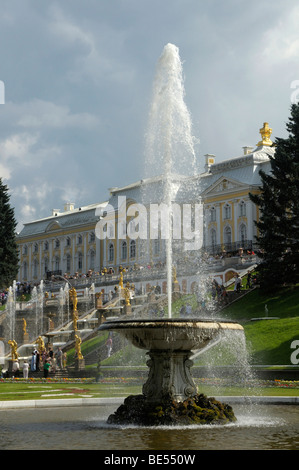 Grand Cascade with Palace, Peterhof, Petrodvorez, Saint Petersburg, Russia, Europe - Stock Photo