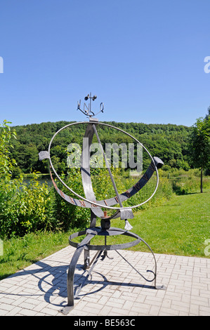 Sundial, Seilersee lake, Callerbachtalsperre reservoir, Iserlohn, Sauerland area, North Rhine-Westphalia, Germany, - Stock Photo