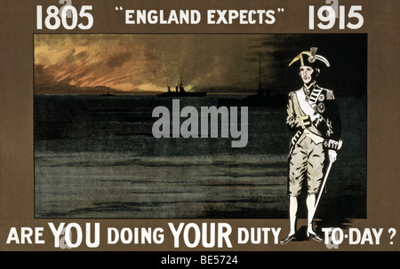 World War One British recruiting poster evoking the memory and image of Vice Admiral Horatio Nelson. - Stock Photo