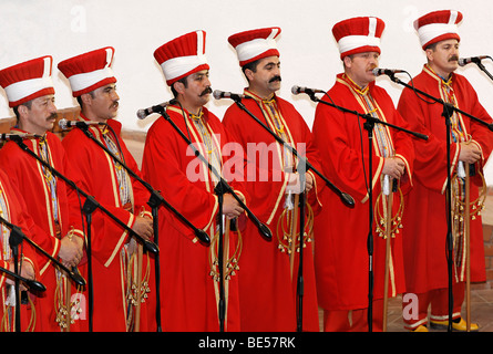 Singers in period costume, Janitscharen military chapel Mehter Chapel, demonstration in the military museum, Askeri - Stock Photo