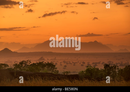 Mount Morungole seen from the Kidepo Valley National Park in northern Uganda at dawn. - Stock Photo