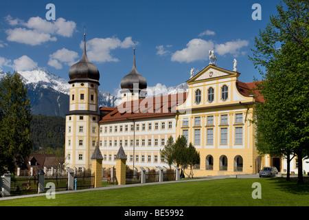Stift Stams monastery, Cistercian Abbey, Mieminger mountain range, Inntal valley, Tyrol, Austria, Europe - Stock Photo