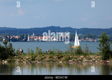 View from the Rhine estuary in Fussach across Lake Constance to Lindau in Bavaria, Germany, from Vorarlberg, Austria, - Stock Photo