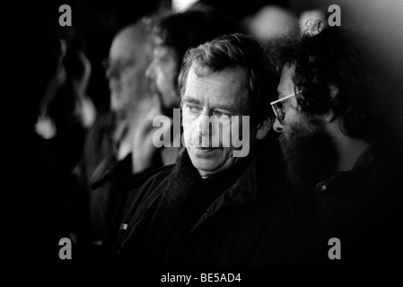 Vaclav Havel at a rally during demonstrations in Prague leading up to the collapse of communism. Czechoslovakia - Stock Photo