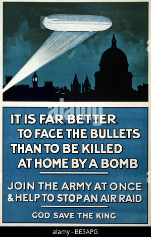 World War One British recruiting and propaganda poster urging men to join the army and help stop German air raids. - Stock Photo