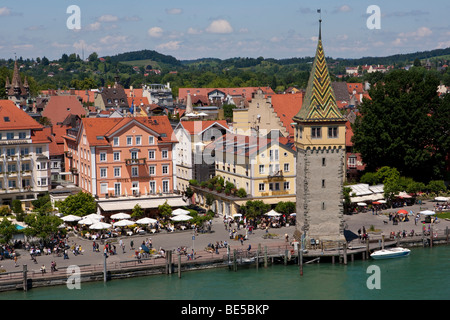 The Mangturm tower in the port of Lindau, Lindau am Bodensee, Lake Constance, Bavaria, Germany, Europe - Stock Photo