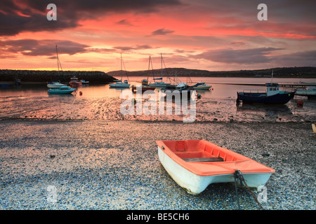 Early morning in Rhos harbour with the boats waiting for the tide in Rhos on Sea, Colwyn Bay, Wales, UK - Stock Photo
