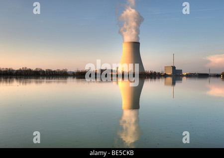 Isar Nuclear Power Plant, Ohu, in Essenbach near Landshut, Lower Bavaria, Bavaria, Germany, Europe - Stock Photo