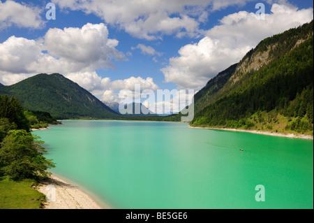 The Sylvensteinstausee reservoir or Sylvensteinsee lake in Isarwinkel, district of Bad Toelz-Wolfratshausen, Bavaria, - Stock Photo