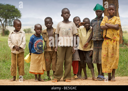 African children in Kidepo Valley National Park in northern Uganda. - Stock Photo