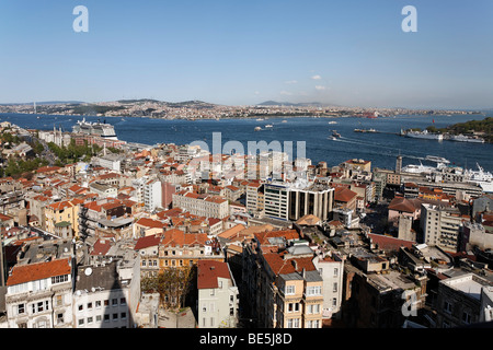 Panoramic view from the Galata Tower over the rooftops of Beyoglu on the Golden Horn and Bosphorus, Istanbul, Turkey - Stock Photo