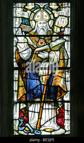 A Stained Glass Window Depicting Saint Patrick, Welbourn Church, Lincolnshire - Stock Photo