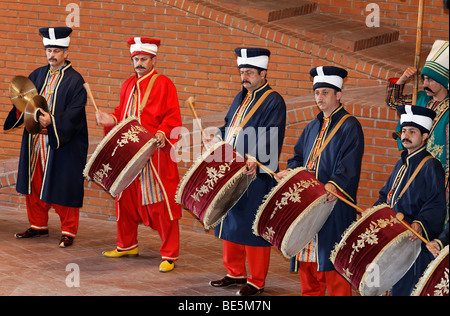 Drummers in historical costumes, Janitscharen Military Chapel, Chapel Mehter, demonstration in the military museum, - Stock Photo