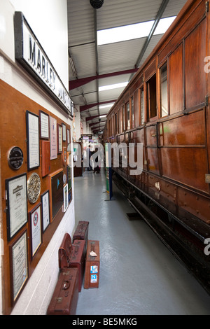 UK, England, Yorkshire, Keighley, Ingrow Museum of Rail Travel, vintage railway carriages on display - Stock Photo