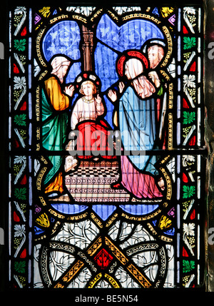 A Stained Glass Window Depicting Christ in the Temple, St Gregory's Church, Offchurch, Warwickshire: Window by William - Stock Photo