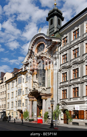 Catholic church Saint Johannes Nepomuk, Asamkirche church, Sendlinger Strasse street, Munich, Upper Bavaria, Germany, - Stock Photo