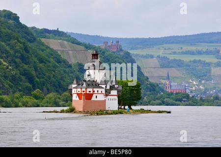 Pfalzgrafenstein Castle near Kaub, on Rhine River, in front of Oberwesel with Schoenburg Castle and Liebfrauenkirche - Stock Photo