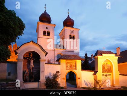 Church Christus Salvator und Allerheiligen, Christ Salvator and All Saints, Millstatt, Carinthia, Austria, Europe - Stock Photo