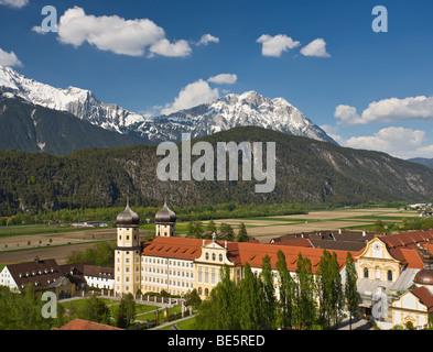 Stift Stams monastery, Cistercian Abbey, Mt. Hohe Munde, Mieminger mountain range, Inntal valley, Tyrol, Austria, - Stock Photo