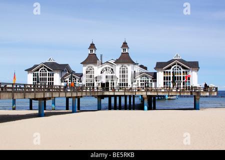 Sea bridge in the seaside resort Sellin at Baltic Sea Coast, Ruegen Island, Mecklenburg-Western-Pomerania, Germany, - Stock Photo