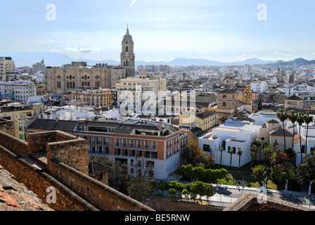 View from the Alcazaba castle to the old town with the cathedral, Malaga, Andalusia, Spain, Europe - Stock Photo