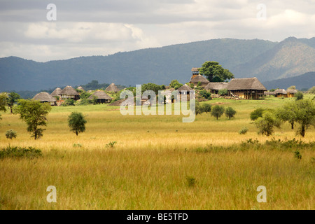 View of the luxury Apoka lodge in Kidepo Valley National Park in northern Uganda. - Stock Photo