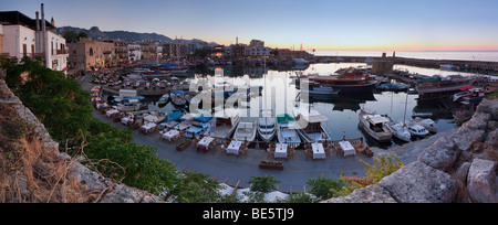 Evening mood at the port of Kyrenia, also known as Girne, Northern Cyprus, Cyprus, Turkish section, Southern Europe, - Stock Photo