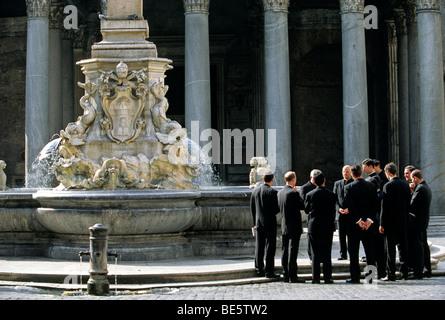 Pantheon, Fontana del Pantheon fountain, priest, Piazza della Rotonda square, Rome, Lazio, Italy, Europe - Stock Photo
