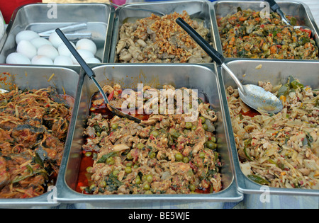 Various Thai dishes in a cookshop, Thailand, Asia - Stock Photo