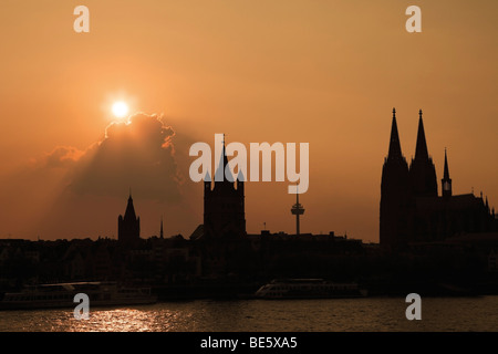 Silhouette, banks of Rhine River and the Cologne Cathedral at sunset, Cologne, North Rhine-Westphalia, Germany, - Stock Photo