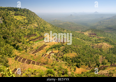 View across the Great Rift Valley from the slopes of Mount Elgon in Uganda. - Stock Photo