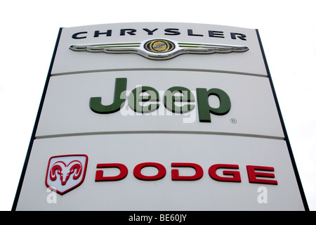 Logo of the car brand Dodge, Jeep, Chrysler, on a sign at a car dealership in Stuttgart, Baden-Wuerttemberg, Germany, - Stock Photo