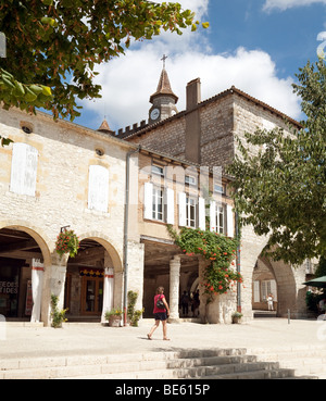 The central village square, the Bastide town of Monflanquin, Aquitaine France - Stock Photo