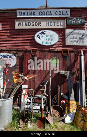 Items for sale, junk store, Searsport, Maine - Stock Photo