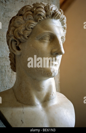 Ancient bust of Roman emperor Augustus, gallery, Capitoline Museums, Palazzo Nuovo, Capitoline Hill, Rome, Lazio, - Stock Photo