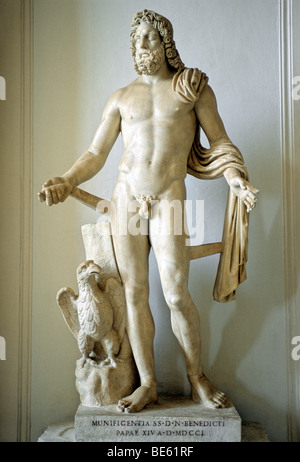 Ancient marble statue of Olympic god Zeus, gallery, Capitoline Museums, Palazzo Nuovo, Capitoline Hill, Rome, Lazio, - Stock Photo