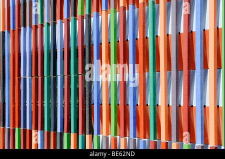 Detail of the front, Brandhorst museum, by Sauerbruch Hutton, 2009, Tuerkenstrasse street, Munich, Upper Bavaria, - Stock Photo