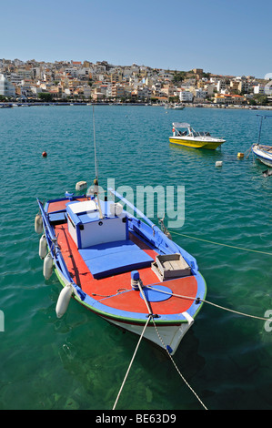 Boat in the harbor of Sitia or Siteia, Eastern Crete, Crete, Greece, Europe - Stock Photo