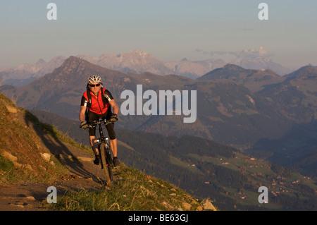 Mountainbiker at Hohe Salve mountain, Tyrol, Austria, Europe - Stock Photo