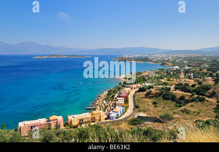 View of Agios Nikolaos or Ayios Nikolaos, Eastern Crete, Crete, Greece, Europe - Stock Photo