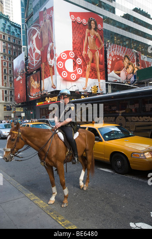 policeman in Times Square New York USA - Stock Photo