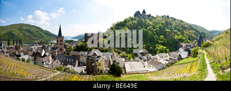 View over Bacharach in front of Burg Schadeck Castle, Mainz-Bingen district, Rhineland-Palatinate, Germany, Europe - Stock Photo