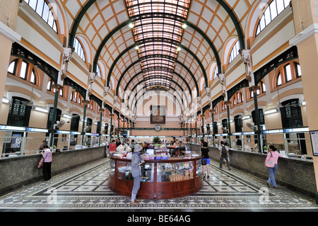 Hall in the main post office, Ho Chi Minh City, Saigon, Vietnam, Southeast Asia - Stock Photo