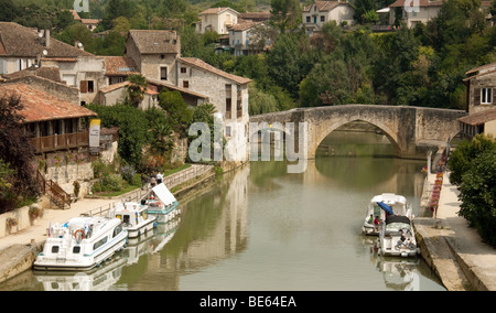 Boats moored on the River Lot at Nerac, Aquitaine France - Stock Photo