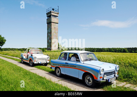 Trabi cars in front of the observation tower of the GDR at the former inner-German border, Katharinenberg, Wendeleben, - Stock Photo