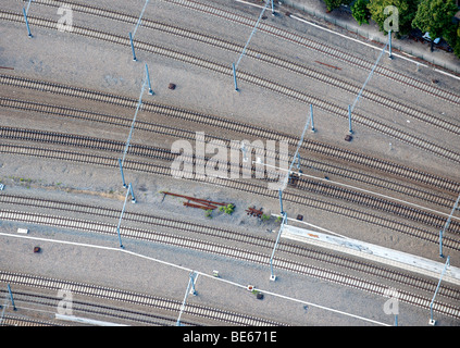 Aerial View : railways close up and catenary - Stock Photo