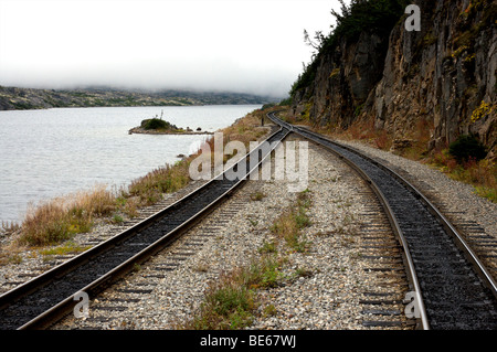 Train tracks of the White Pass Railway in Skagway Alaska - Stock Photo