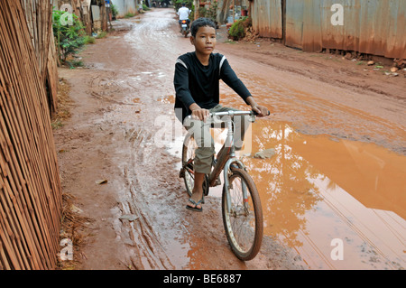 Street in the slums of Siem Reap, Cambodia, Asia - Stock Photo